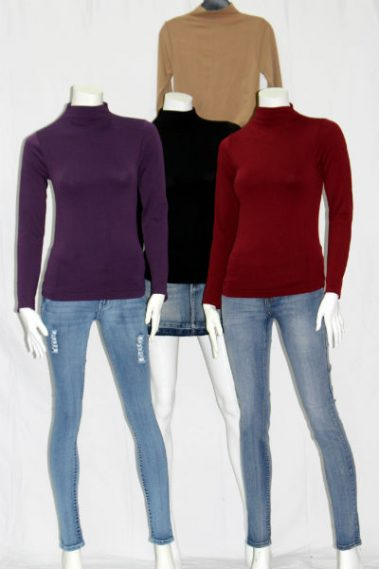 Seamless Long Sleeves Mock Neck Top FAB – 914-S6B