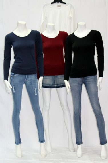 Long Sleeves Crew Neck Solid Top FAB – 12603-S10B