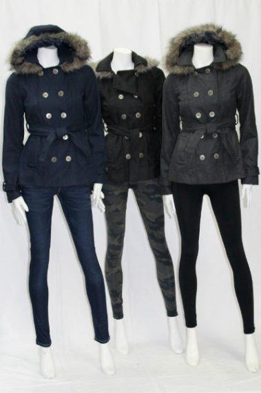 Fur Hooded Wool Coat LOU – R87005-S4B