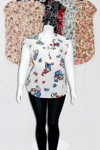Plus Size V-Neck Floral Top MAN – 5750-9