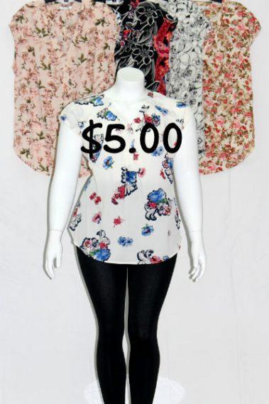 Plus Size V-Neck Floral Top MAN – 5750-9