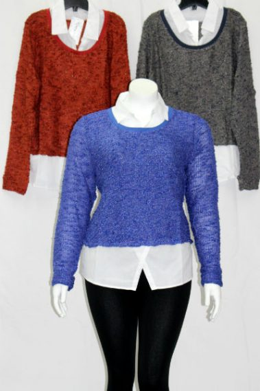 Plus Size Collar Knitted Top FAS – 1925-N