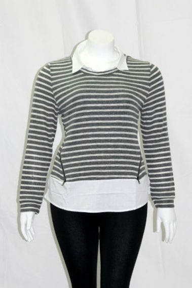Plus Size Collar Striped Top FAS – 19258W-N