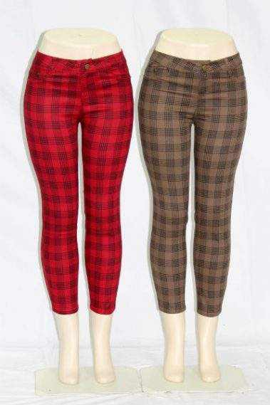 Plaid Ankle Pants EMB – CP9036-FRT