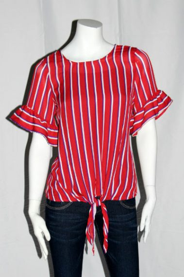 Knot-Front Short Sleeve Top FRD – 24174-1