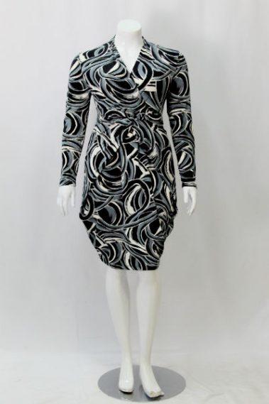Long Sleeves Plus Size Printed Dress KIM – 9855OS-6