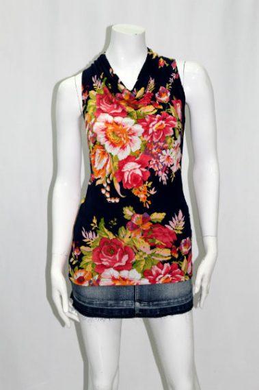 Flower Print Cowl Neck Top KIM – 12484M-1