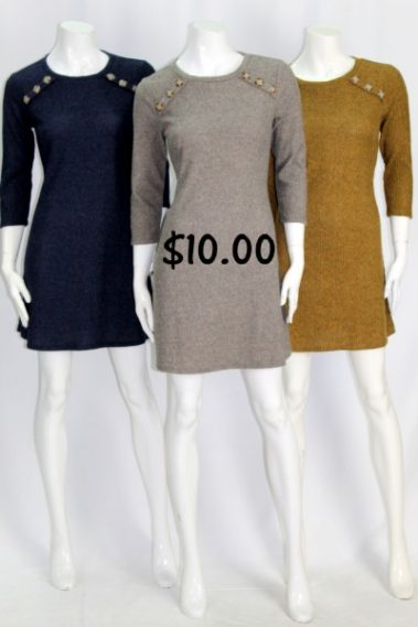 3/4 Sleeves Sweater Dress FRD – DC756WD-10