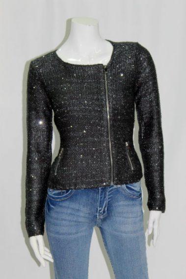ZipUp Sequins Sweater COR – MOT-T