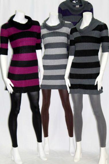 Cowl Neck Striped Sweater Tunic 7LI – 7-U