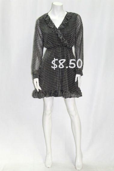 Long Sleeves Checkered Dress COR – D11320-1-F