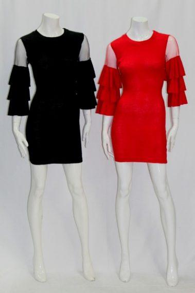Frill Sleeve Dress COR – M1213-S3B