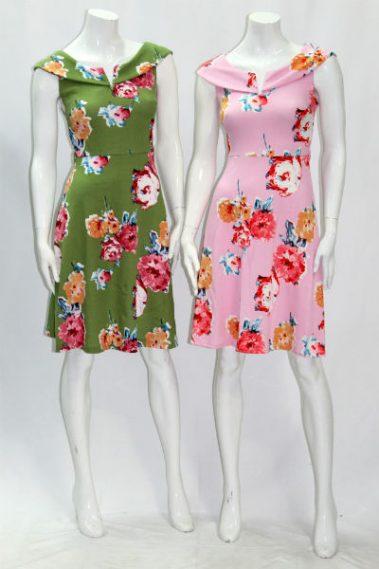 Wide Boat Neck Floral Dress EMB-D78733-8