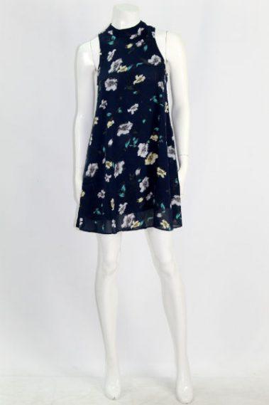 Mock Neck Dress with Side Pockets EMB – WB0251-B