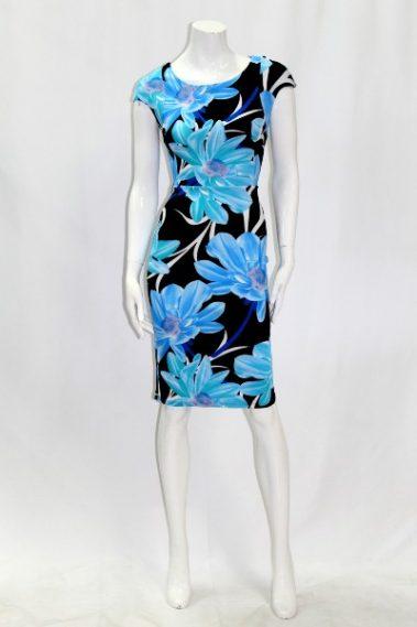 Round Neck Flower Print Dress EMB – D78717-6