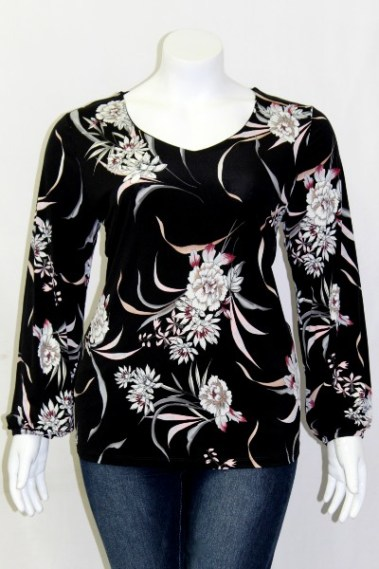 Floral Long Sleeves Plus Size Top CLV – T13943-3