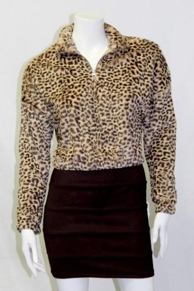 Half-Zip Animal Print Velvet Pullover FRD – 100056702-3