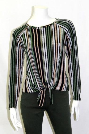 Vertical-Stripe Long Sleeve Top FRD – CS100098-1