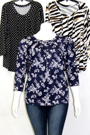 3/4 Sleeves Plus Size Printed Top FRD – 12123-8