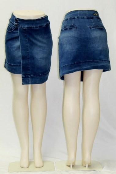 High-Rise Asymmetrical Stretchy Denim Skirt DSA – Brody-RB-S1M