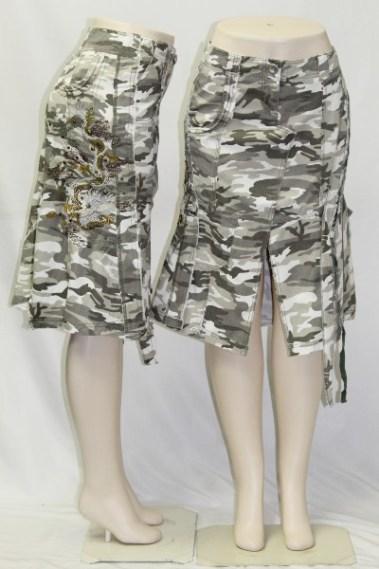 Embroidery Side Camo Skirt BLK – 2203-B-S4B