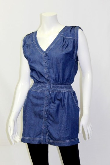 Denim Tunic with Side-Pockets BLK – 5274-A