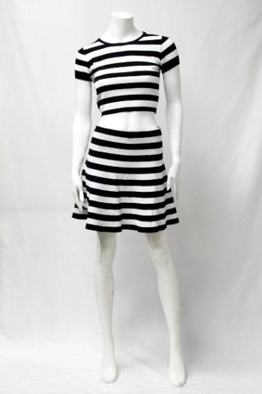 Striped Skirt/Top Set  BLK – LP01540-1-S9M