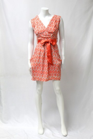 V-Neck Printed Dress with Pockets BLK – 88100-C