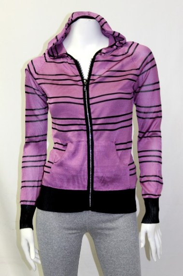 Zip-Up Striped Hoodie with Pockets BLK – K8858-S8T