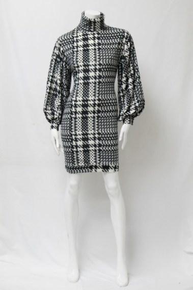 Turtle Neck Plaid Fleece Dress CTB – D970-8